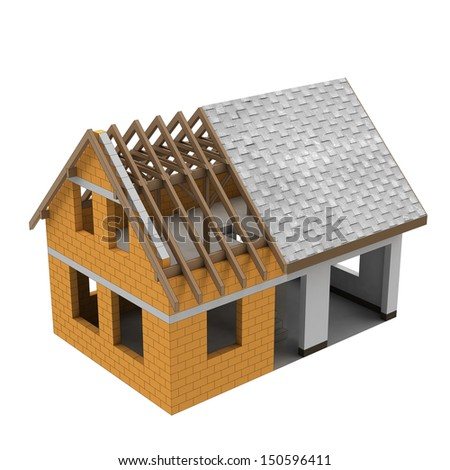 separated two building structural phases illustration - stock photo