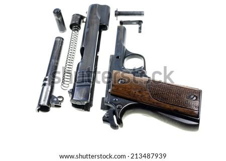 Seperate parts handgun caliber 11 mm. - stock photo