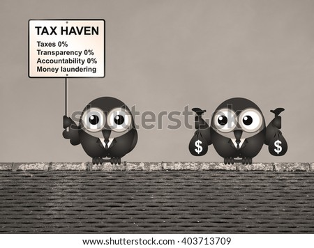 Sepia bird businessman holding bags of money deposited in a tax haven paying no tax and shrouded in secrecy USA version - stock photo