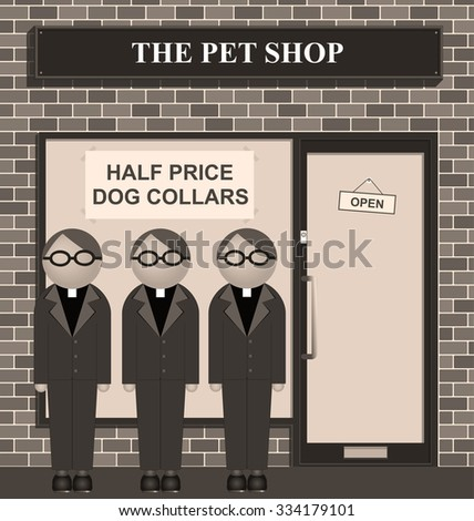 Sepia Clergy queuing for half price dog collars at the pet shop - stock photo