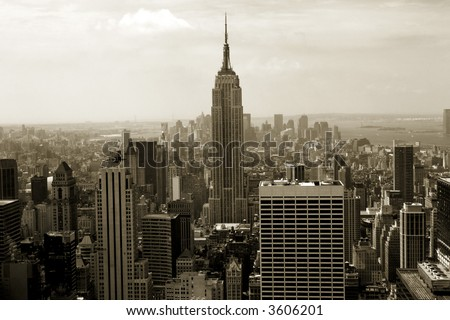 Sepia-colored view of midtown and downtown Manhattan from above - stock photo