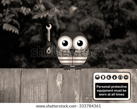Sepia Comical bird construction worker with Personal Protection Equipment sign perched on a timber garden fence against a foliage background - stock photo