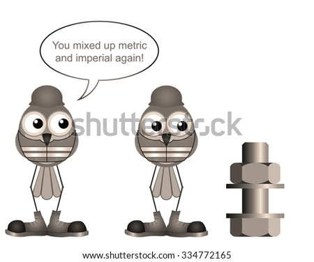 Sepia comical construction worker mixing up metric and imperial sizes - stock photo