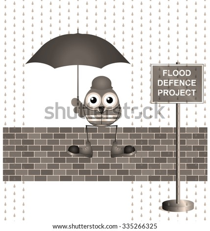 Sepia comical construction worker on flood defence project - stock photo