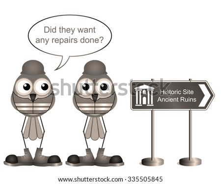 Sepia comical construction workers with ancient ruins sign - stock photo