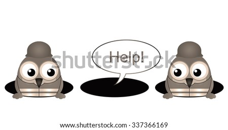 Sepia comical construction workers with colleague stuck in a hole isolated on white background - stock photo