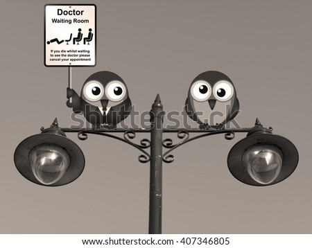 Sepia comical doctor waiting room with doctor and patient birds perched on a lamppost  - stock photo