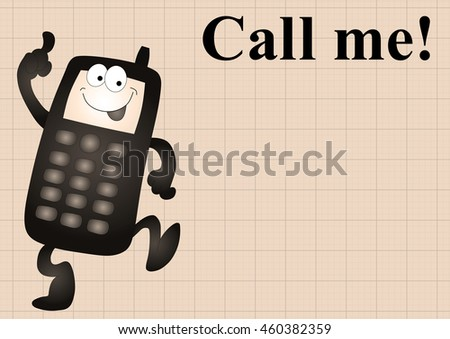Sepia comical mobile telephone and call me on graph paper background with copy space for own text - stock photo