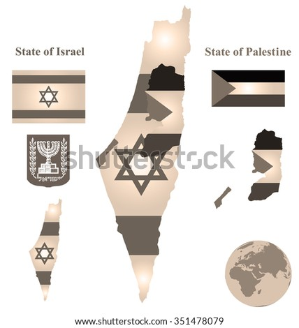 Sepia flag and coat of arms of the State of Israel and the State of Palestine overlaid on detailed outline map isolated on white background  - stock photo