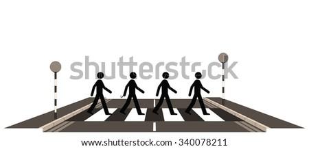 Sepia Four men on a zebra crossing - stock photo