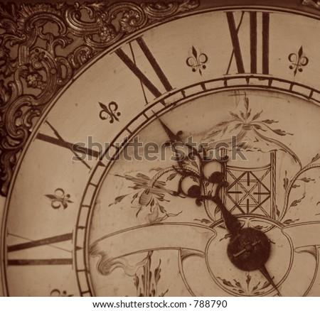 sepia image of antique clock face - stock photo
