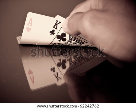 Sepia Image of Black Jack Hand