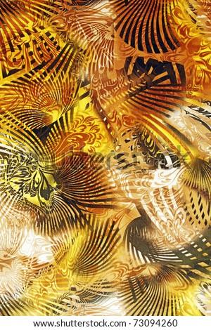 Sepia Malaysian batik tribal pattern print on cotton fabric for textural background. - stock photo