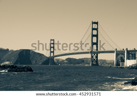 Sepia of San Francisco's Golden Gate Bridge, as seen from Baker Beach