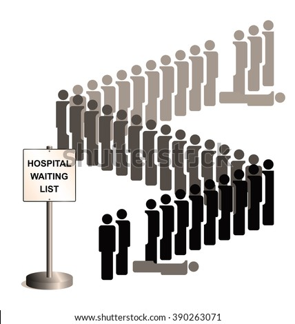 Sepia representation of people dying whilst on the hospital treatment waiting list due to healthcare budget cuts and lack of investment isolated on white background