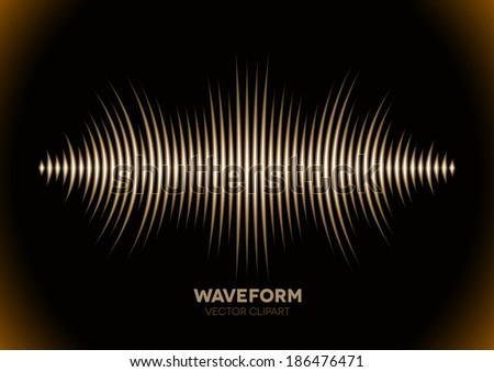 Sepia retro sound waveform with sharp peaks - stock photo