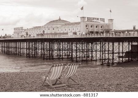 Sepia shot of Brighton Pier, England - stock photo