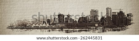Sepia sketch look of the Vancouver cityscape from Stanley Park. - stock photo