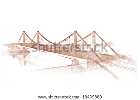 Sepia sketch of a bridge - stock photo