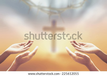 Sepia tone, worship concept. Autumn, Blur, Crown, Give, Golden, Over, Raising, Reaching, Sunset, Thorns, Together, Lent, Amen, Help, Trust, Human, Morning, Evening, Hope, Love, Kneel, Alone, Praying. - stock photo