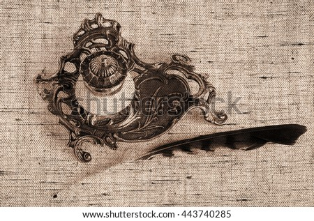 Sepia toned Antique Bronze inkpot with feather on white background with shadows - Made with canvas texture effect      - stock photo