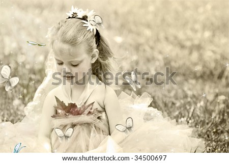 Sepia toned image of a little girl dressed as woodland fairy for Halloween and surrounded by butterflies. Photo based illustration.
