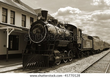 Sepia toned image of an old steam locomotive