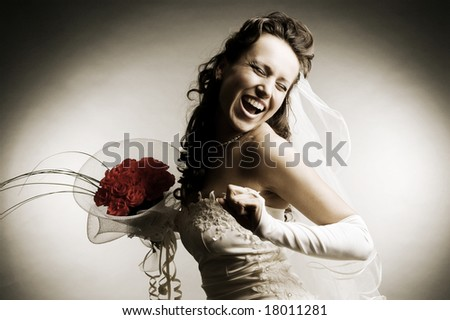 sepia toned image of happy bride with bunch of roses