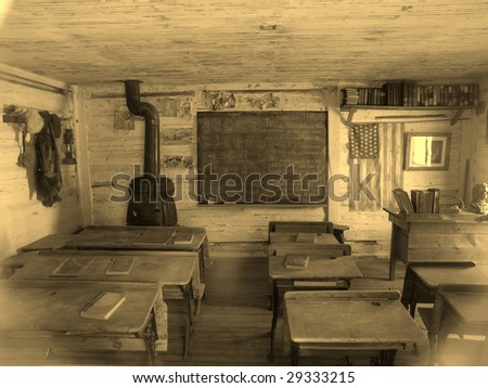 Sepia toned image of old school located in Nevada City, Montana ghost town - stock photo