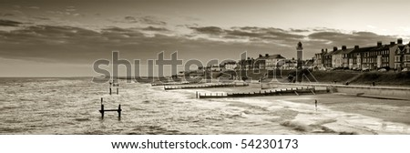 Sepia toned panoramic view of southwold looking form the pier - stock photo