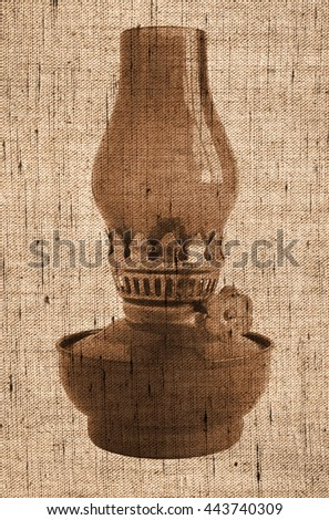 Sepia toned Photo shows old vintage glass oil lamp - Photo made with canvas texture effect     - stock photo
