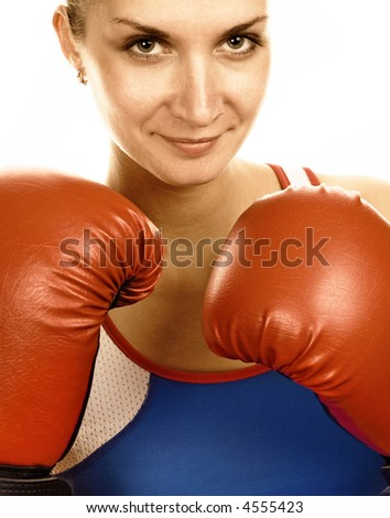 Sepia toned portrait of a boxer girl - stock photo