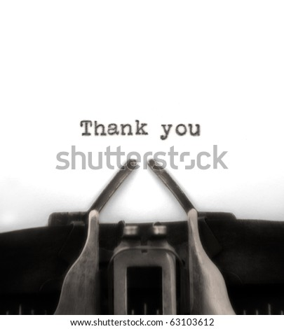 Sepia-toned thank you typed by vintage typewriter. - stock photo