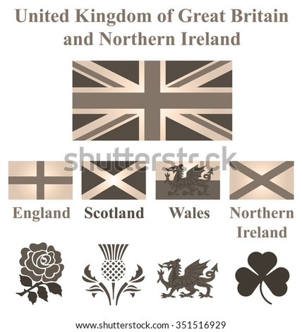 Sepia United Kingdom collection of flags and national emblems of England Scotland Wales Northern Ireland isolated on white background - stock photo