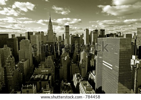 Sepia view of Manhattan from above - stock photo