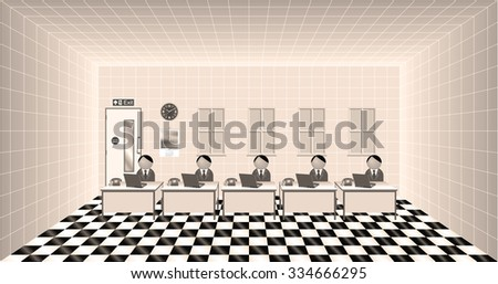 Sepia workers at their desk in an office - stock photo