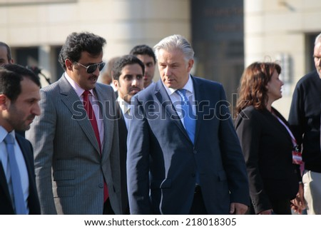 SEPTEMBER 17, 2014 - BERLIN: Sheikh Tamim bin Hamad bin Khalifa Al Thani, the Emir of Qatar and Klaus Wowereit at the Pariser Platz in Berlin, Germany.