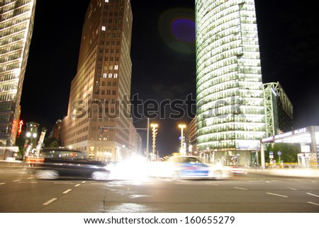 SEPTEMBER 2013 - BERLIN: traffic at night time at the Potsdamer Platz in Berlin.
