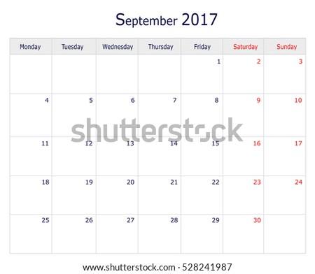 September 2017 Calendar Template Big Space Stock Illustration