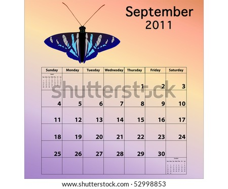 September 2011 calendar with butterfly - stock photo