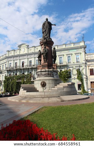 September 10, 2014, Catherine the Great monument in Odessa, Ukraine. Popular touristic european destination. Odessa city view
