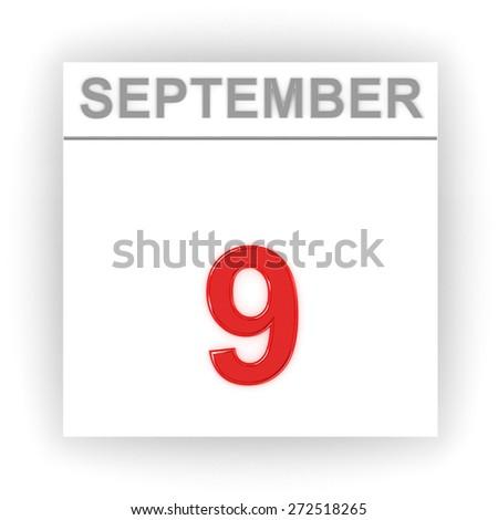 September 9. Day on the calendar. 3d - stock photo