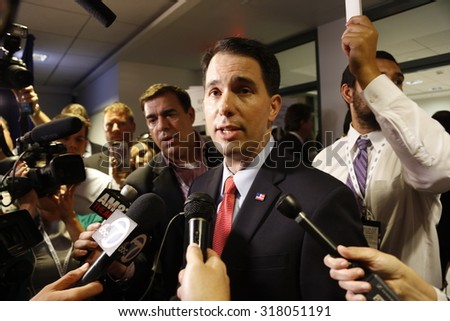 SEPTEMBER 16, 2015 Gov. Scott Walker interviewed during the presidential debates at the Reagan Library, Simi Valley, Los Angeles, California - stock photo