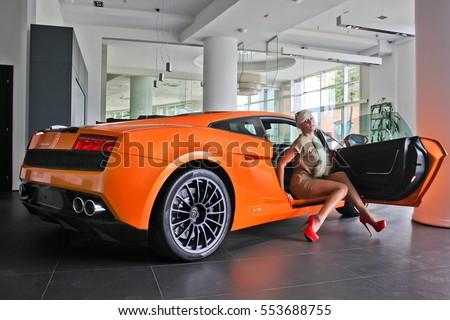 September 15, 2014, Kiev, Ukraine. Beautiful Sexy Fashion Woman Model With  Bright Amazing Design