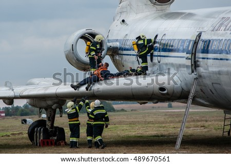 "September  27, 2016. Kyiv, Ukraine. Large-scale rescue services training at the International airport ""Borispol"". In the exercise was attended by 200 rescuers and 35 different rescue techniques."
