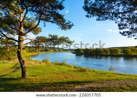 September landscape of Neris River in Lithuania - stock photo