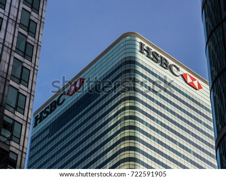 September 24, 2017, London UK. HSBC headquarters in Canary wharf.