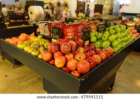 September 1, 2016 - Los Angeles, USA : Fresh vegetable stall of green grocery in Grand Central Market, famous food place in downtown LA.