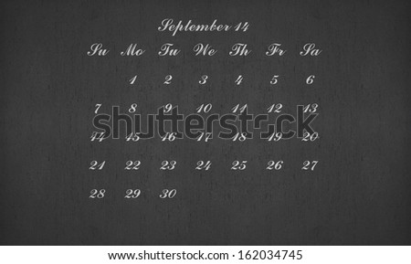 September month 2014 on blackboard for your planner