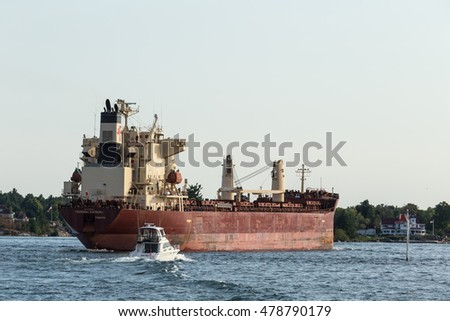 September 4, 2016 - St. Lawrence Seaway, New York State - U.S.A - A large freighter on the St. Lawrence Seaway